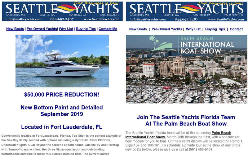 examples of seattle yachts email blasts