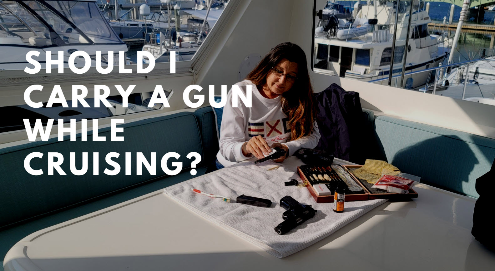 gun on yacht while cruising