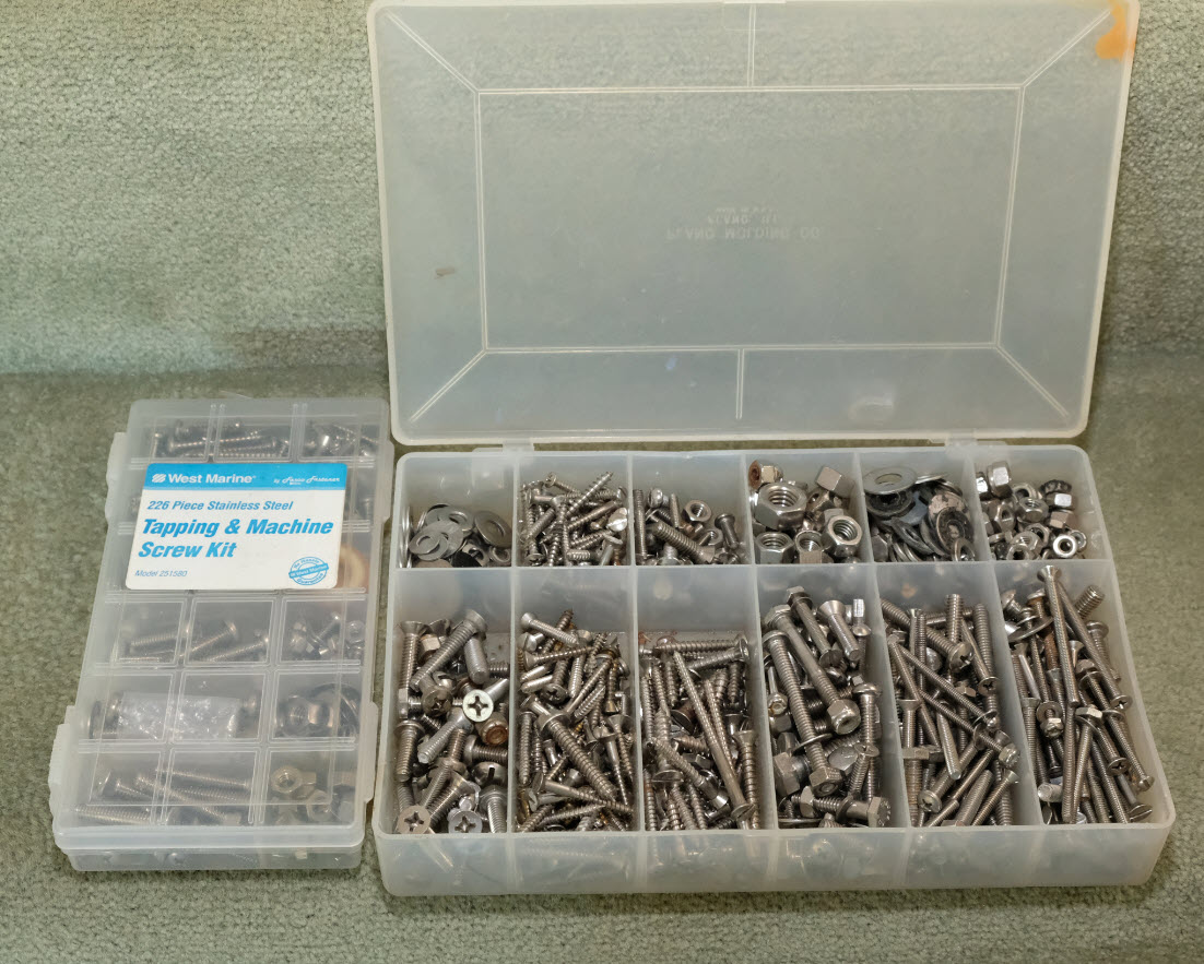 plano box of screws and bolts