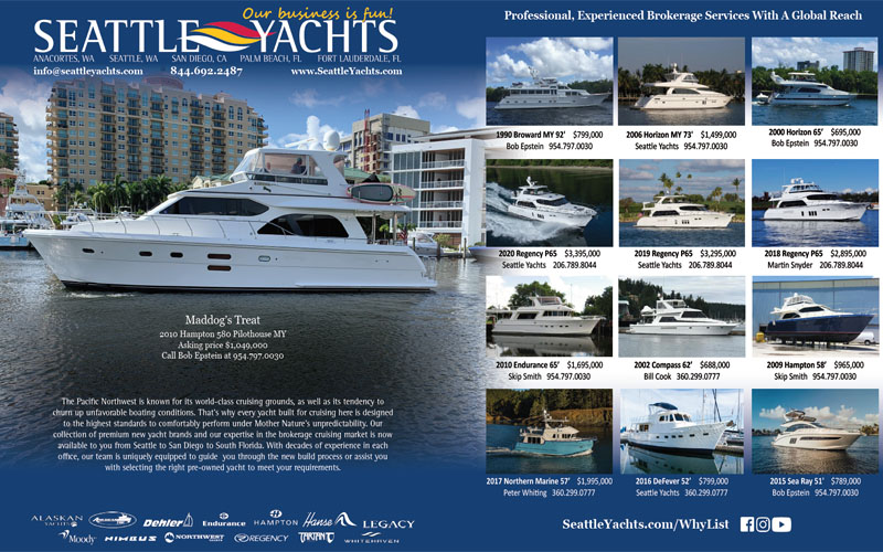 two page spread in power and motor yacht