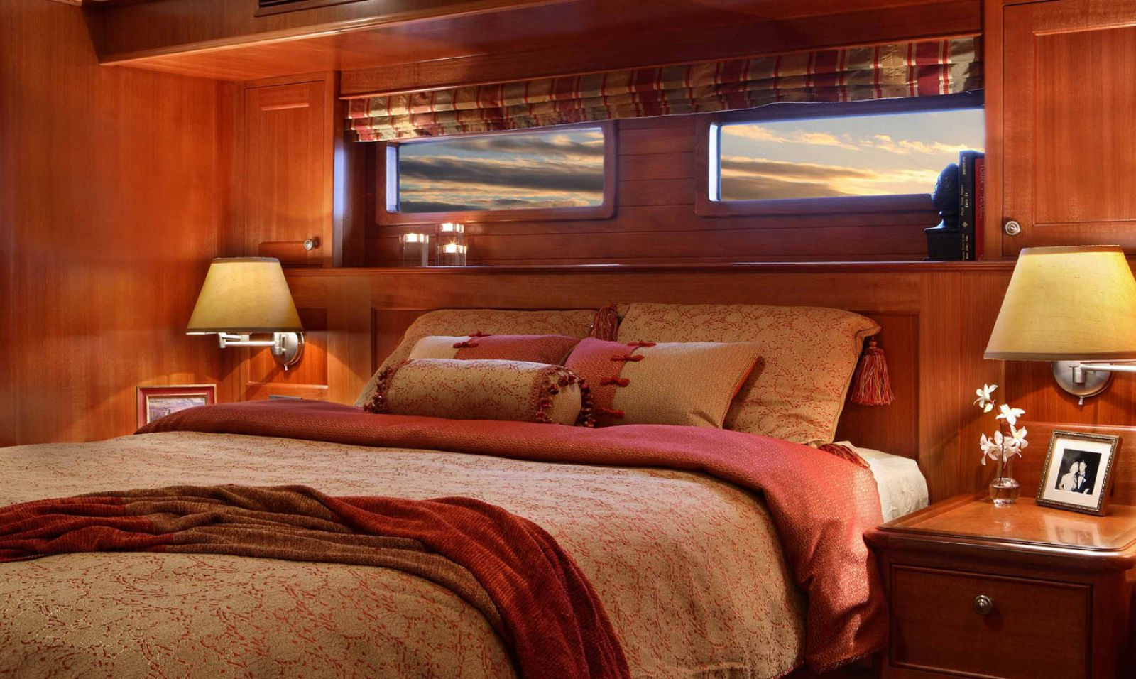 master stateroom of the northern marine 64 yacht