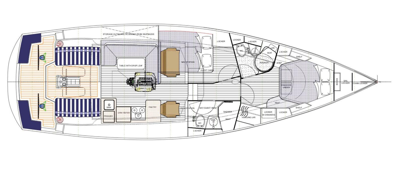 tartan 455 three cabin layout