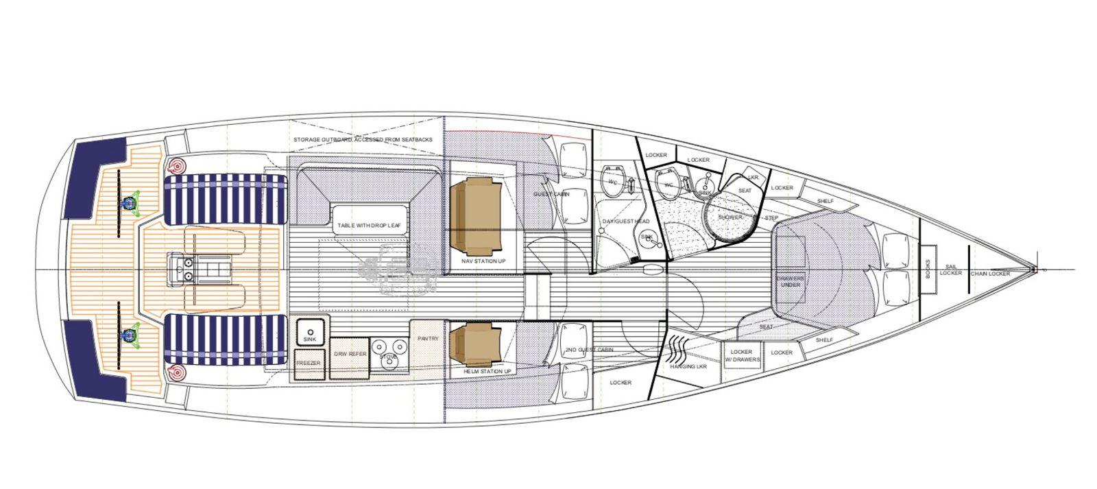 tartan 455 two cabin layout
