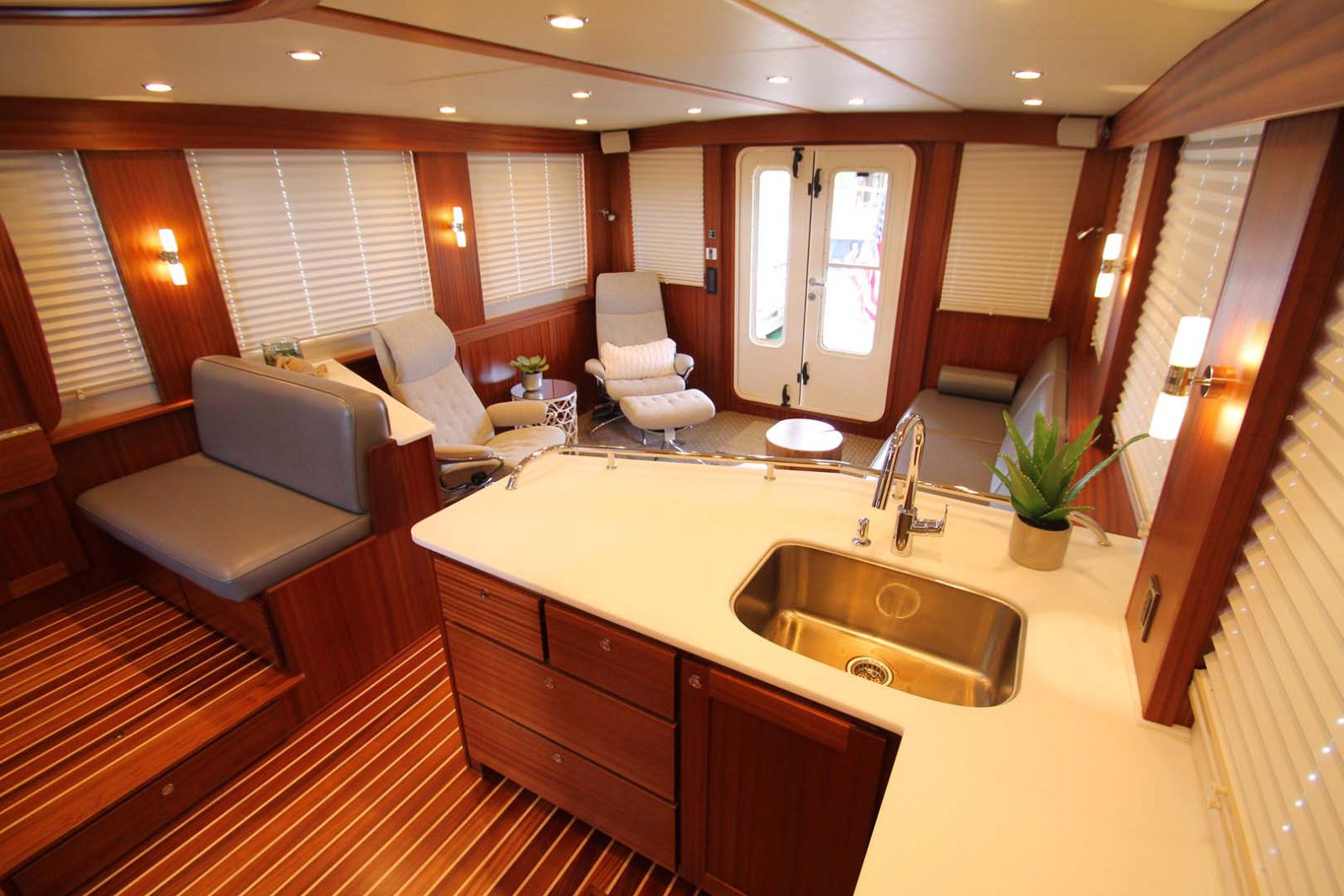 galley and seating on american tug 485
