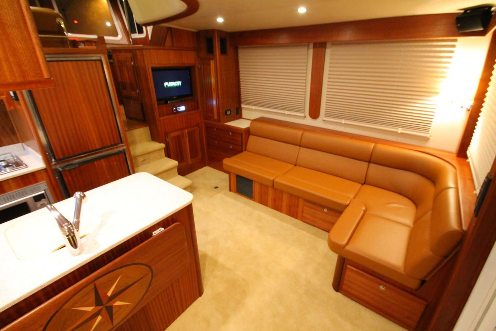 salon and couch on the american tug 435