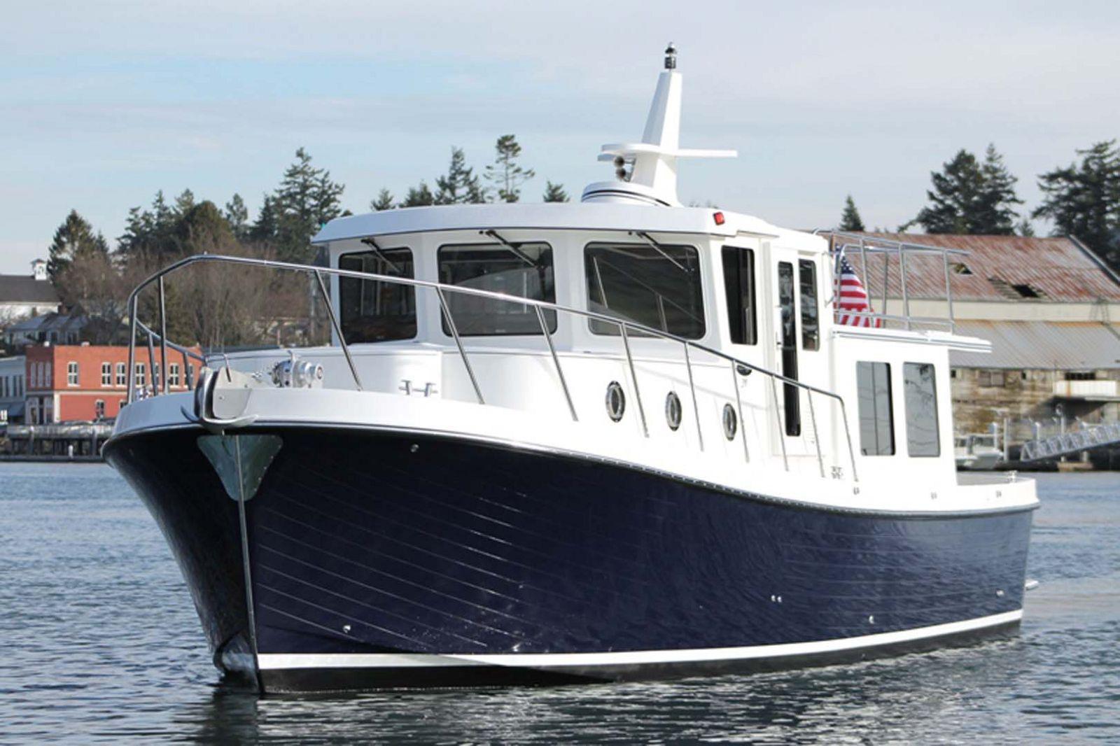 american tug 395 bow cruising
