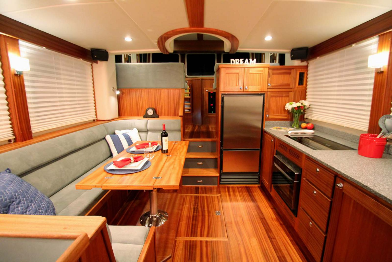 dining area and galley on the american tug 395